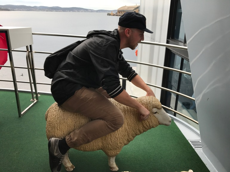Our friend Andrew riding his sheep like a motorcycle.