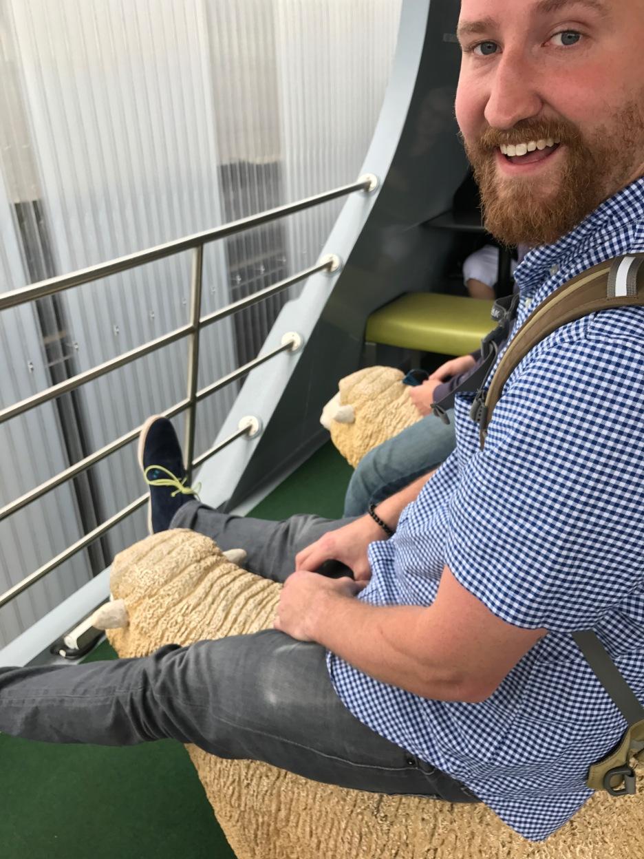 Christopher on his sheep!